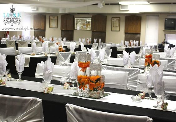 Orange Black And White Wedding Centerpieces And Reception