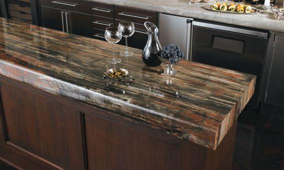 petrified wood look-basement bar top?