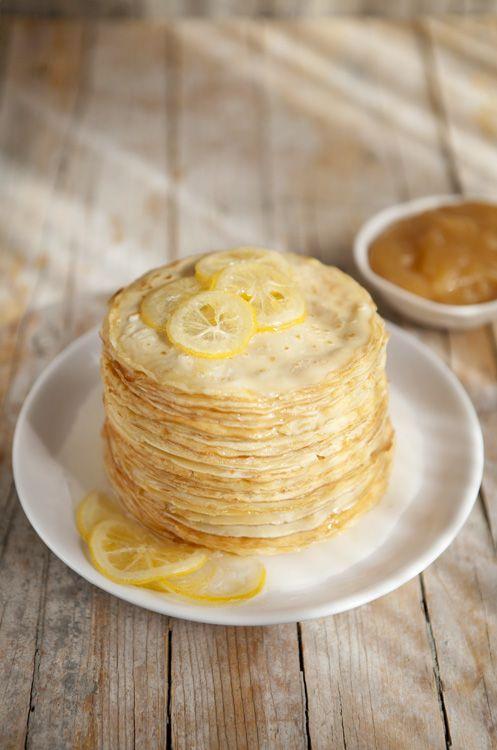 Stack of thin lemon pancakes