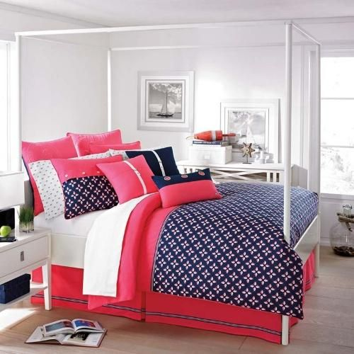 Red, white, and blue bedding.