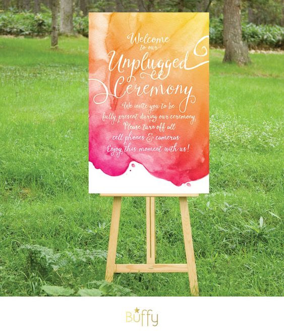 $20 on ETSY | A large hand painted watercolor & calligraphy sign for the Unplugged Wedding. A perfect way to savor your special day.  This Calligraphy Watercolor design is part of a series of items in our store! If you don't see something you need in this style please message me and i can create a custom order for you.