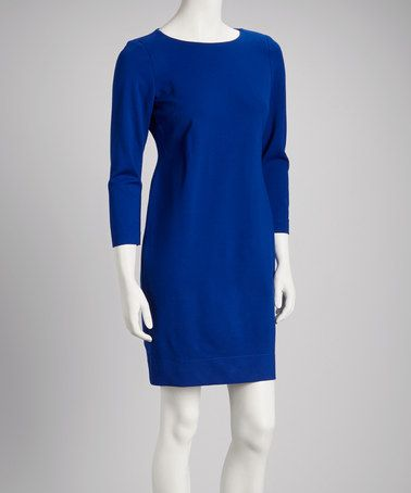 Take a look at this Azure Three-Quarter Sleeve Shift Dress by Just Taylor on #zulily today!