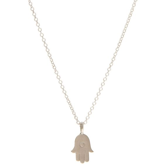 Dogeared Hamsa Necklace ($27) ❤ liked on Polyvore featuring jewelry, necklaces, peace charm, peace symbol necklace, peace sign charms, pendants & necklaces and hamsa charm