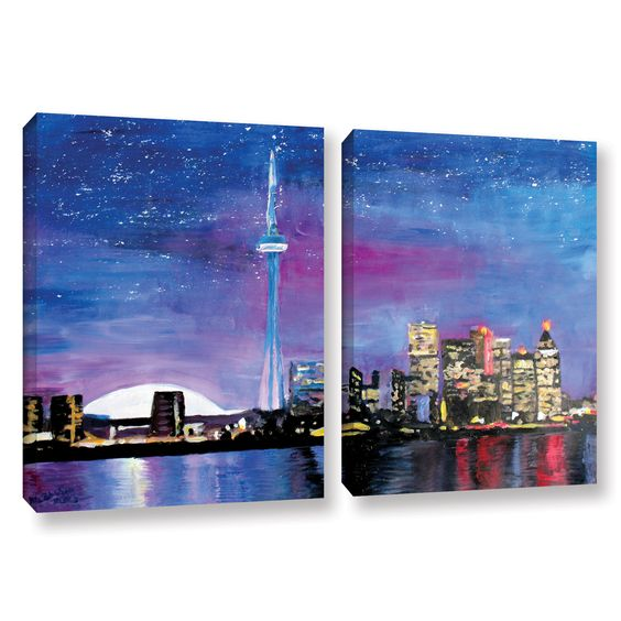 Toronto Skyline At Night by Marcus/Martina Bleichner 2 Piece Painting Print on Gallery Wrapped Canvas Set