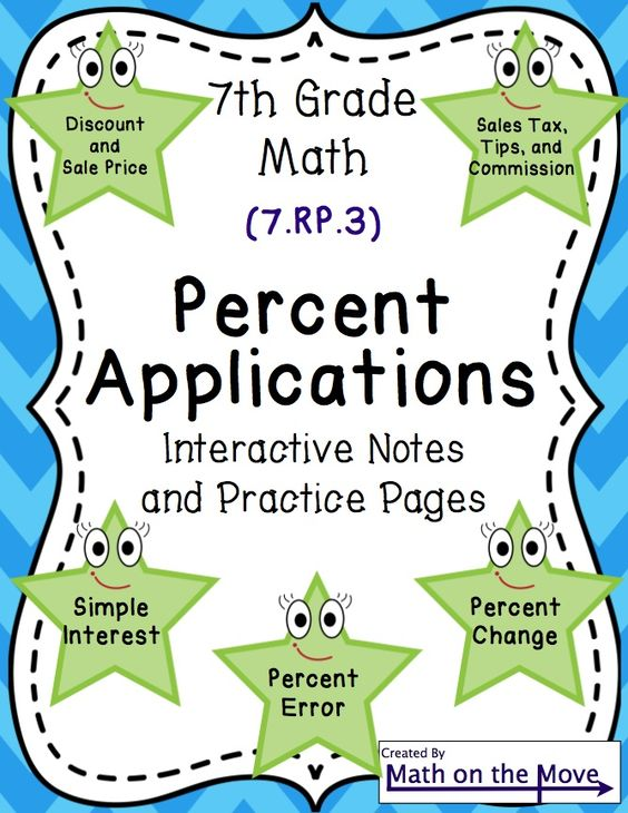 Percent Applications - Interactive Notes and Practice Pages (7.RP ...
