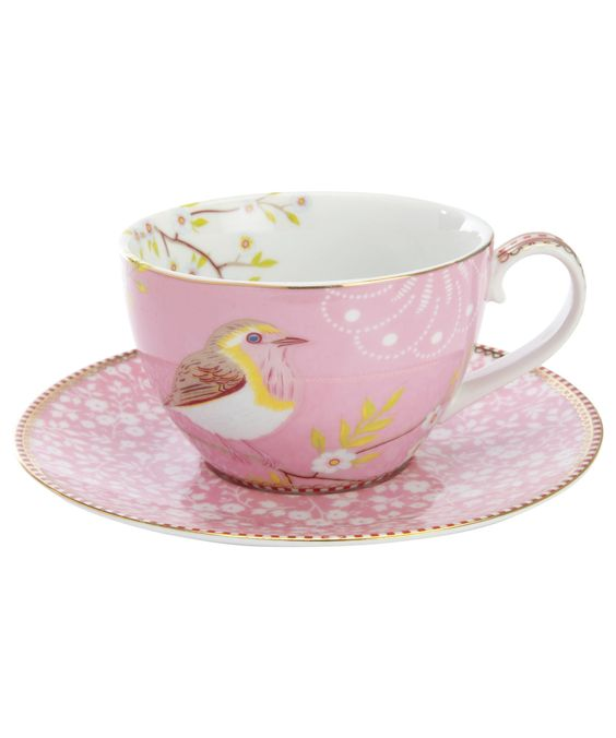 Pip Studio Pink Bird print Tea Cup