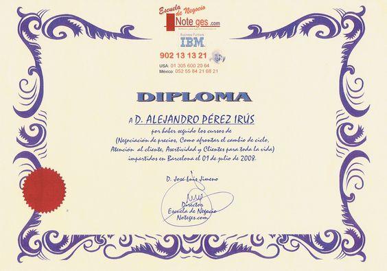 2008 Escuela Club Noteges Diploma Titulacion Reconocimiento Inmobiliario en Negociacion de Precios en Viviendas por AlejandroPI Alejandro Perez Irus Mentor Agencias Inmobiliarias