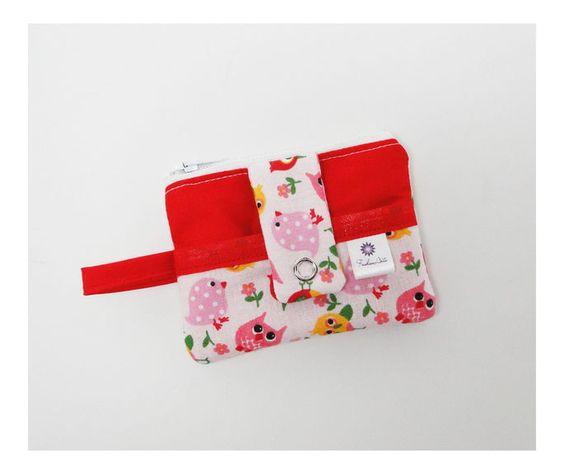 Mini Carteira com bolsinho - passarinhos