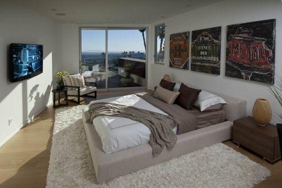 Marvelous schlafzimmer modern gro es doppelbett cremefarbene polsterung wand deko For the Bedroom Pinterest Bedroom modern Bedrooms and Upholstery