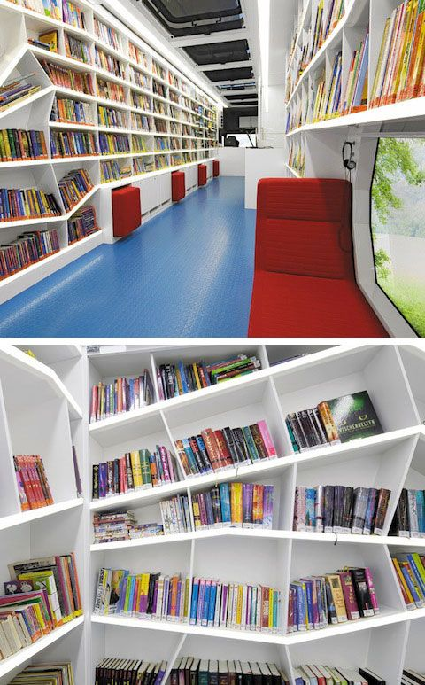 Mobile library in Heilbronn, Germany contains free-form shelves, brightly colored reading mats, and cozy seating. Designers aimed to emphasize the natural lines and dynamic environment of the bookmobile.