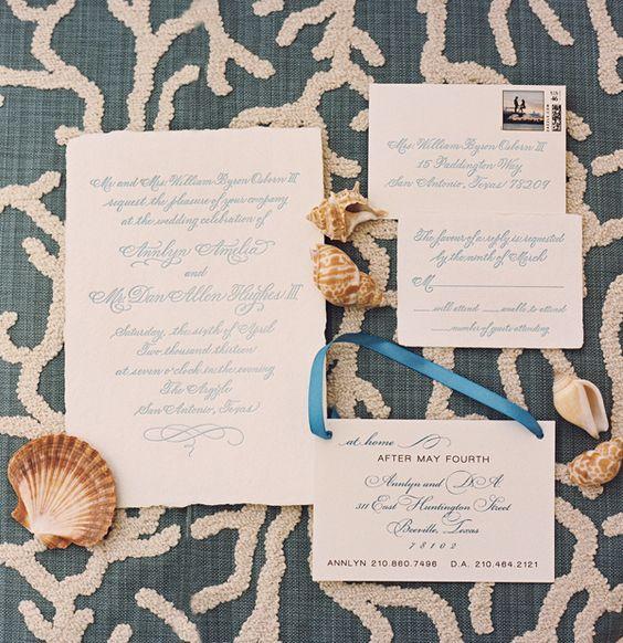 Beach-style formal wedding invitations! #theargyle www.jwilkinsonco.com #photography #film #wedding #invitations #beach