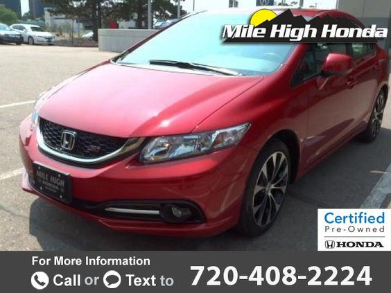 2013 *Honda*  *Civic* *Si*  14k miles $18,999 14755 miles 720-408-2224 Transmission: Automatic  #Honda #Civic #used #cars #MileHighHonda #Denver #CO #tapcars