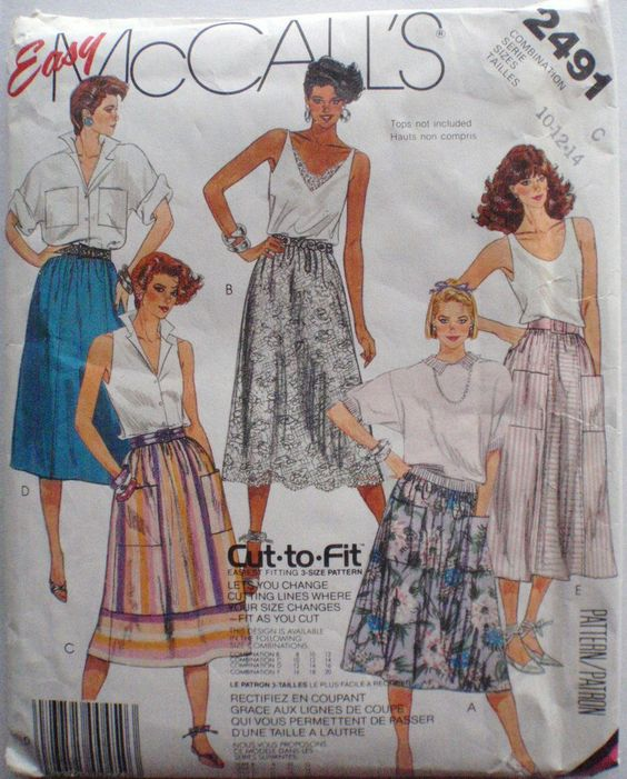 Easy Gathered Skirt Sewing Pattern - McCall's 2491  - Size 10-12-14,  Waist 25-26 1/2-28 by Shelleyville on Etsy