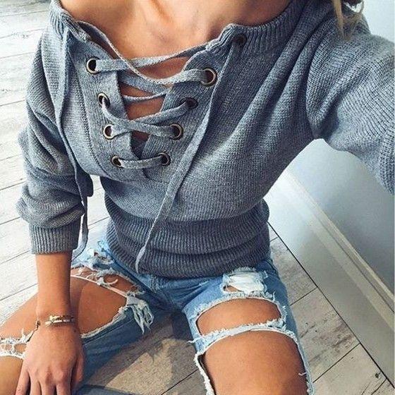 Grey Plain Drawstring V-neck Casual Acrylic Pullover Sweater