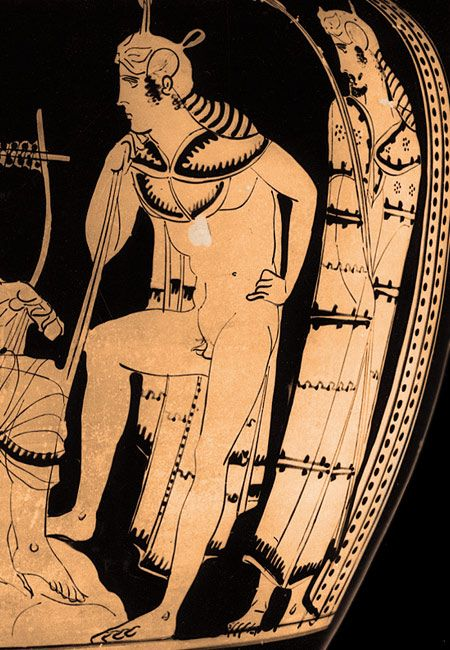 Orpheus charming with song, Attic red-figure column crater, ca.  440 BC, Berlin Altes Museum, Antikensammlung Inv.  VI3172