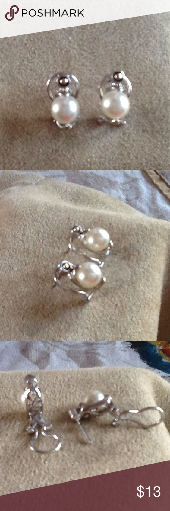 Silver& Pearl Earrings Old Although Never Worn These Are Silver & Pearl Costume  Earrings With