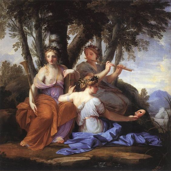 Clio, the Muse of history, is holding the trumpet which heralds the great events of human history and the book in which they are recorded. Euterpe, the Muse of music, is playing the flute and is wearing a floral wreath. Thalia, the Muse of comedy, is holding a mask in reference to the theater.