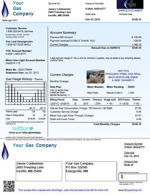 Gas Bill City Gas Gas Bill Bill Template Gas Company