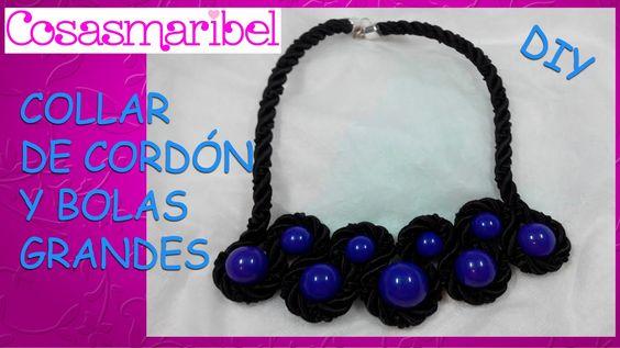 Como hacer un collar con cordón de cortinas y bolas grandes (precioso)
