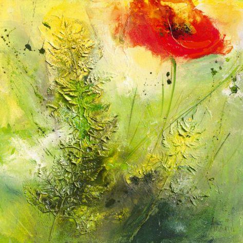 Mohn mit Farn Print by Waltraud Nawratil at Art.com