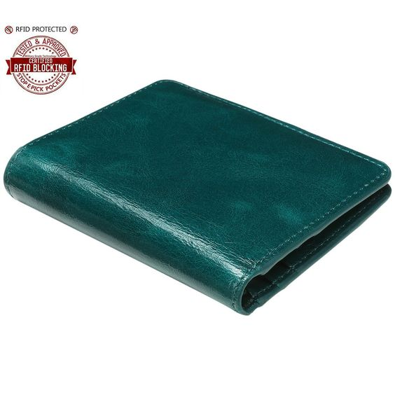 Itslife Women's RFID Blocking Leather Slim Bifold Wallet id Holder(Peacock Green). This Pocket Wallet is equipped with advanced RFID SECURE Technology, Be Safe and Protected from Electronic Pickpocketing,Blocking protection from RFID scanners and readers. The whole wallet made of soft leather, and handmade,Small but roomy with 6 card slots,1 cash slot,1 zipper coin pocket,1 ID window, carrying the items necessary while travel,holds a lot without being bulky. Dimensions:4.2*3.6*0.8...
