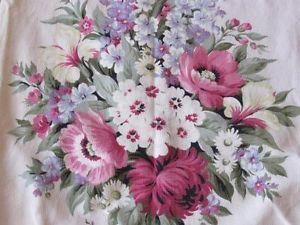 Romantic Vintage Barkcloth Drapery Panel for Cutting Beautiful Pinks and Creams | eBay Vintageblessings