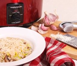 A low-maintenance creamy risotto, cooked slowly in a slow cooker.