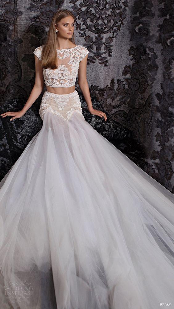 Robe de mariée crop top : marque Persy