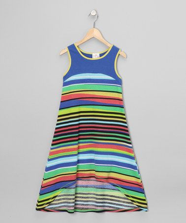 Royal Stripe Hi-Low Dress - Girls by Me & Ko on #zulily today!