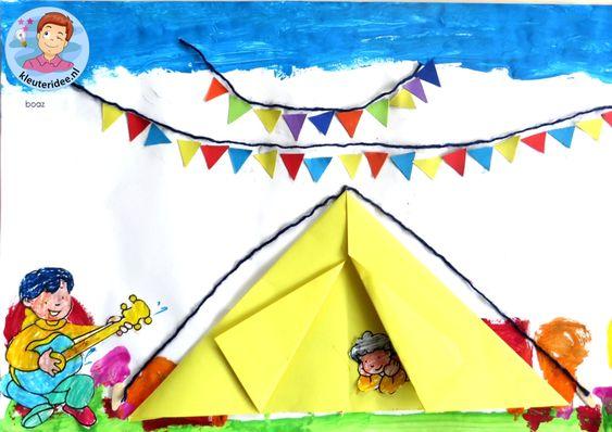 Collage thema camping 6 met kleuters, kleuteridee, voor free printables zie de website.