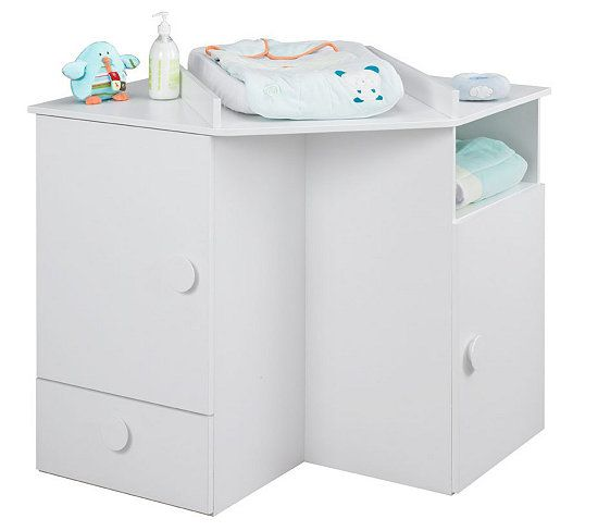 Commode table langer b b ourson blanc et marron clair - Commode table a langer bebe kitty blanc ...