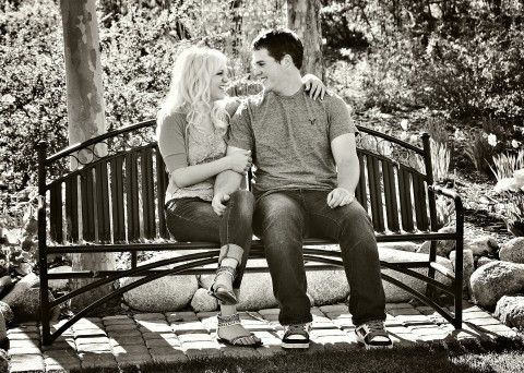 Engagement photo black and white candid casual