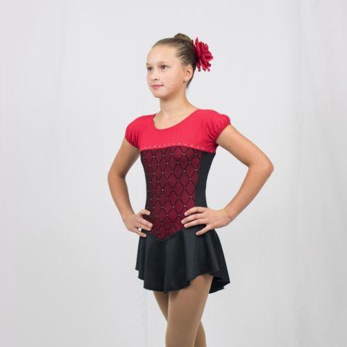 Ice-Skating-Figure-Skating-Red-Black-spandex-Size-Medium-Child-8-10-years