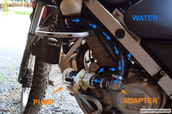 Waterpump Dakar bmw 650 made from washing machine parts