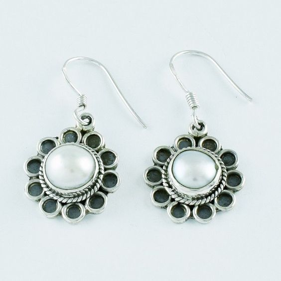PEARL STONE AMAZING DESIGN 925 SOLID STERLING SILVER EARRINGS #SilvexImagesIndiaPvtLtd #DropDangle