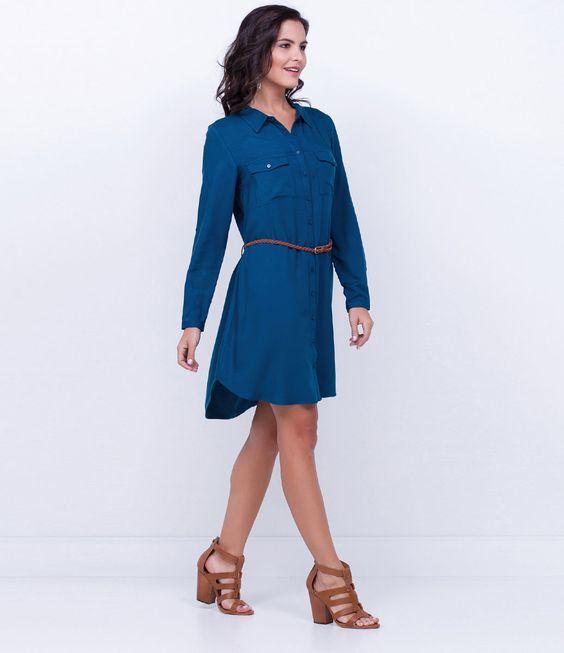 Vestido feminino  Modelo chemise  Manga longa  Com bolsos  Com cinto  Marca: Marfinno  Tecido: viscose  Composição: 100% viscose  Modelo veste tamanho: P     COLEÇÃO INVERNO 2016     Veja outras opções de    vestidos femininos.