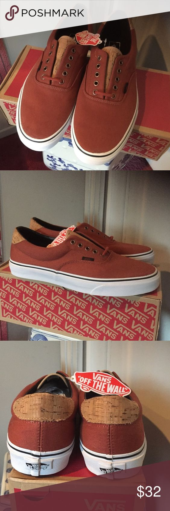 New Authentic Vans men's shoes Nice Orange brown canvas with cork like accent Vans Shoes Sneakers