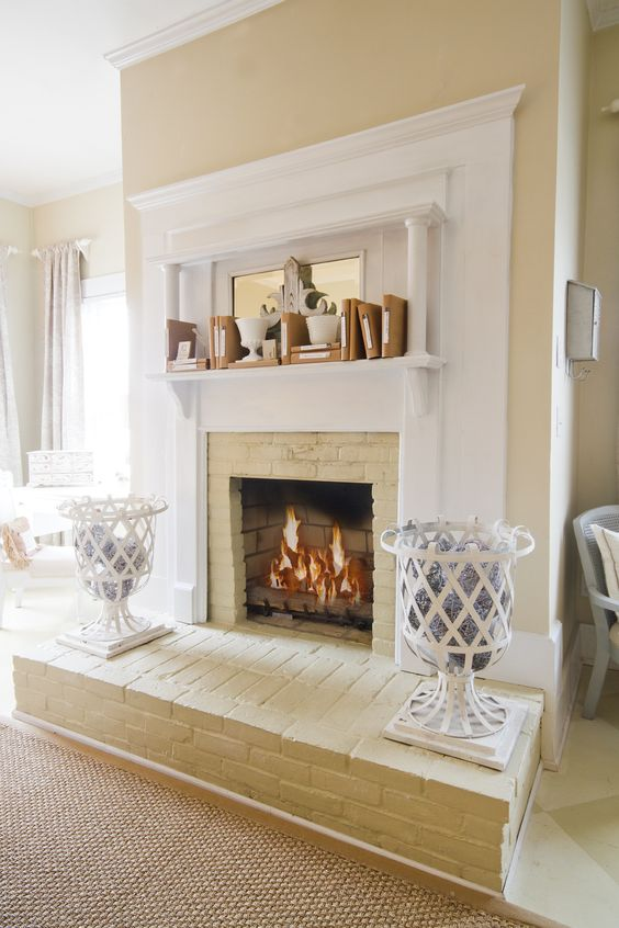 Fireplaces brick fireplaces and painted fireplaces on - Painting bedroom walls different colors ...