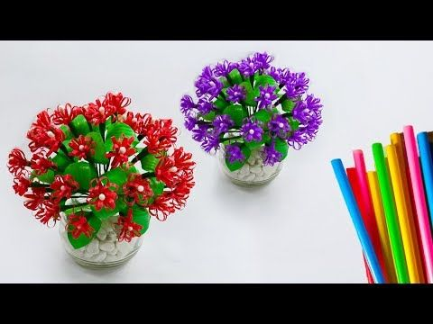 Bunga Hias Sedotan Plastik Meja Kerja Pretty Flower Ideas With