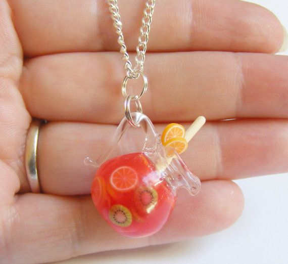 Jug of Sangria Miniature Pendant Necklace - Miniature Food Jewelry,Mini Food Jewelry,Handmade Jewelry