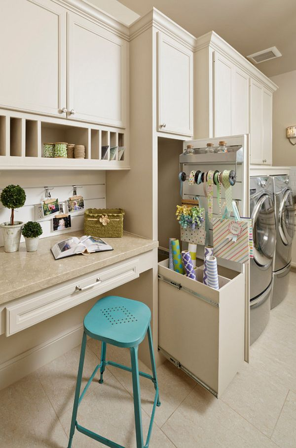 Laundry Room Craft Room Ideas. Laundry Room and craft room with wrapping station. #LaundryRoom #CraftRoom #WrappingStation  Morning Star Builders LTD.