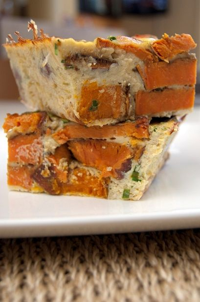 Sweet Potato Crustless Quiche | Warm, Savory, Satisfying | Lightened Up Recipe | For MORE RECIPES please SIGN UP for our FREE NEWSLETTER www.NutritionTwins.com