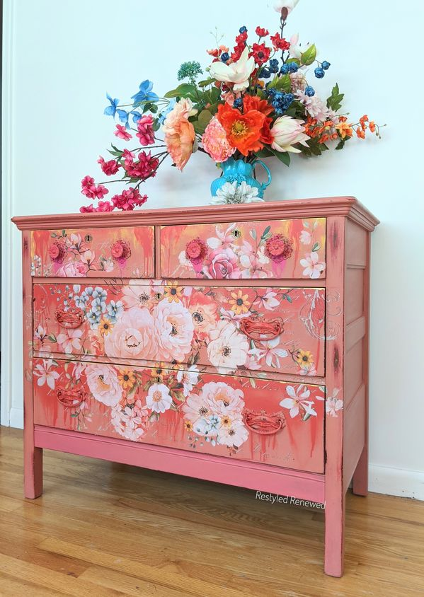 Gorgeous flower filled coral and pink dresser with drips and blends of paint and gold. Creative furniture. Furniture artist. Boho furniture. Boho style. Cottage style. Prima redesign transfer rose celebration. Bold furniture. Eclectic furniture. Tutorial available in my Etsy shop (Rita Shurmer Art).