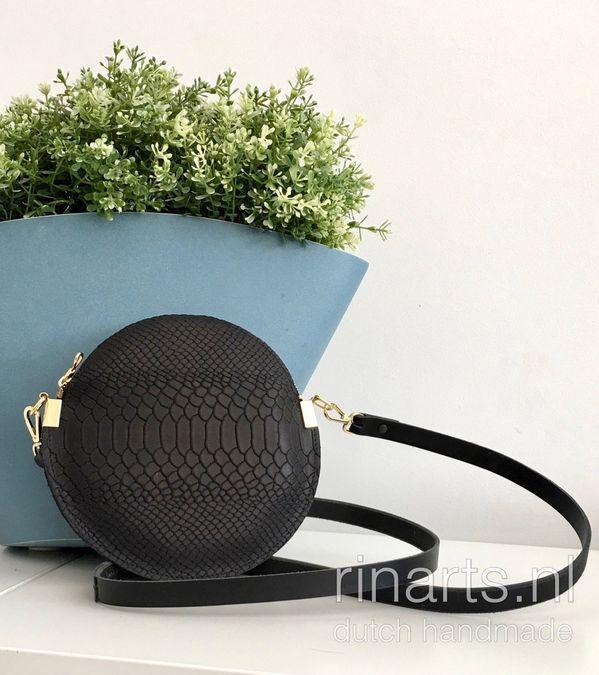 Black snake print leather circle bag. Black leather cross bodybag. Black shoulder bag.