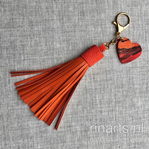 Leather tassel with stingray heart / orange tassel keyfob / orange tassel bag charm. Gift for women