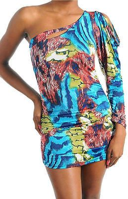 Dress S M L Mini One Shoulder Keyhole Abstract Ani…