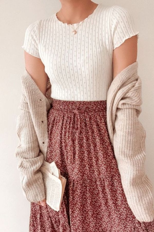 Gorgeous white top paired with a multi-colored skirt plus a cream cardigan, early fall colors