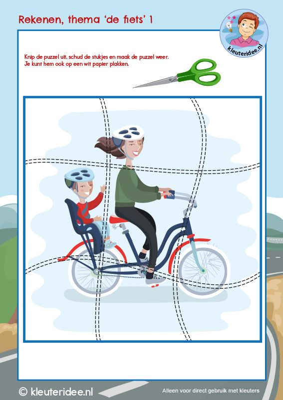 Rekenen thema De fiets, kleuteridee, Kindergarten math bike theme cycling 1, free download