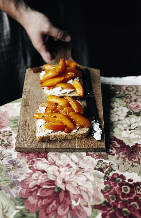 Poached Apricot & Goat Cheese Tartines