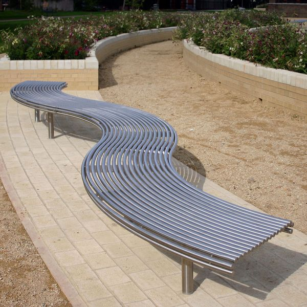 stainless steel bench CL007 curved bench. from benchmark street furniture